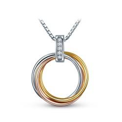 Toutencoeur® France Le collier Chaine et anneaux, argent massif plaqués or et cristal Zirconium