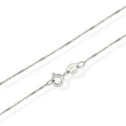 Toutencoeur® France Le collier Chaine maille carrée Vénitienne, argent massif rhodié