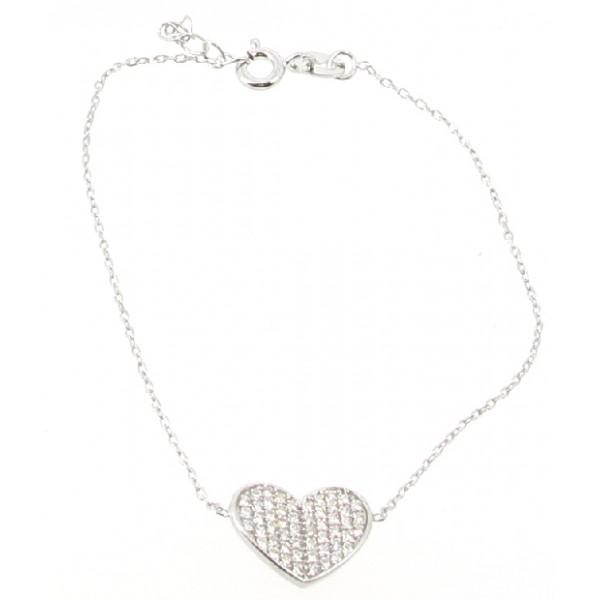 Bracelet Argent - Coeur de strass - Articles de Paris