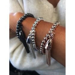 Bracelet - Pompon et chaîne en perles métalliques Articles de Paris