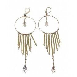 Boucles d'oreilles - Cercle avec perles pendantes Articles de Paris