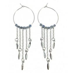 Boucles d'oreilles - Cercle avec perles à facettes et chaînes Articles de Paris