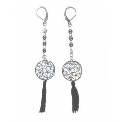 Boucles d'oreilles - Disque motif fleurs en filigrane, pendantes avec pompon Articles de Paris