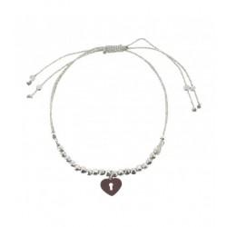 Bracelet - Cœur sur cordon avec perles Articles de Paris