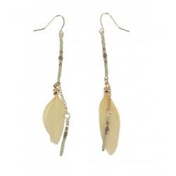 Boucles d'oreilles - Ligne de perles et plumes Articles de Paris