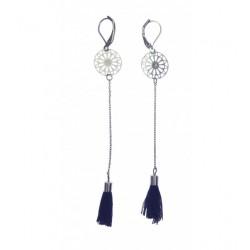 Boucles d'oreilles - Rosace pendante avec pompon Articles de Paris