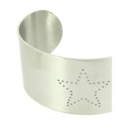 Bracelet Acier - Jonc large avec étoile perforée Articles de Paris