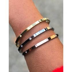 Bracelet Acier - Jonc fin lisse avec strass Articles de Paris