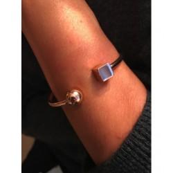 Bracelet Acier - Jonc avec bout carré et sphère Articles de Paris