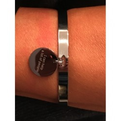"Bracelet Acier - Jonc avec disque inscription ""I can help a lot of people"" Articles de Paris"