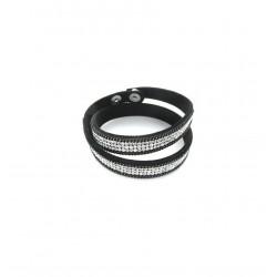 Bracelet en cuir double tour strass et chaÎnette