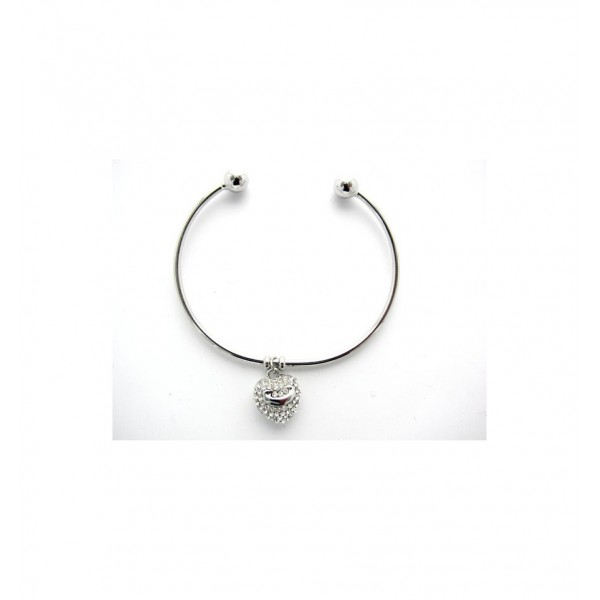 Bracelet fin rigide avec ouverture en métal argenté et coeur charme smiley