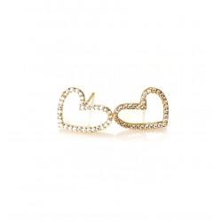 Boucles d'oreilles plaqué or, coeurs et strass