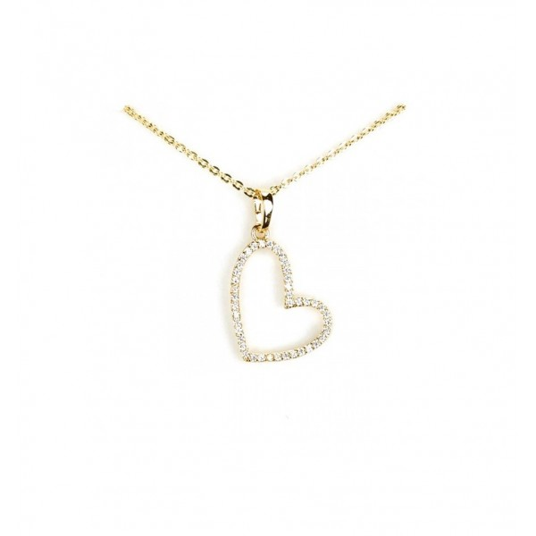 Collier - Plaqué OR, pendentif coeur inversé