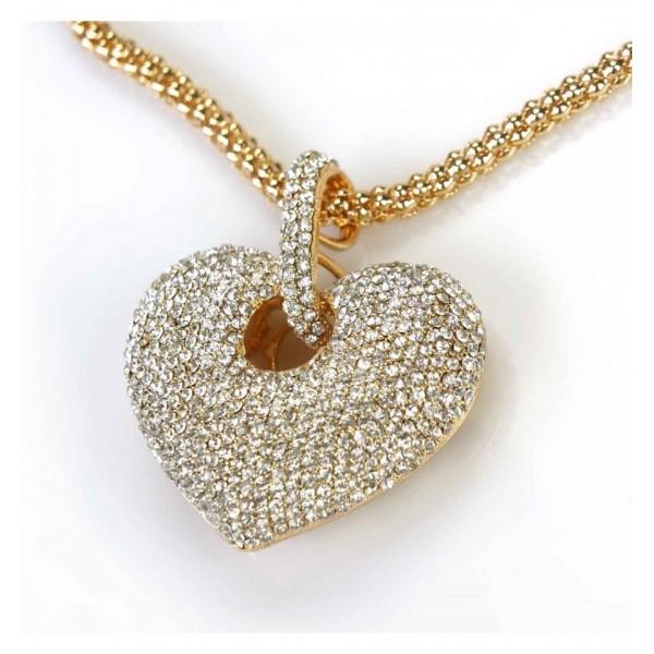 Collier - Pendentif coulissant coeur incrusté de cristaux de strass