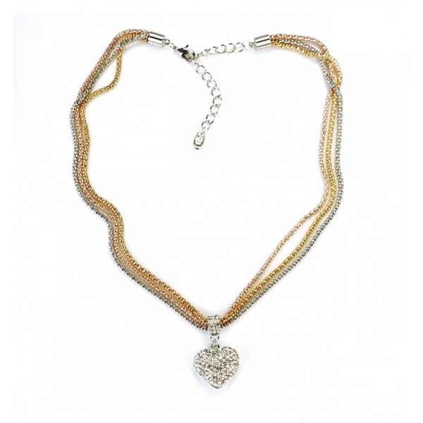 Collier - Multichaînes tricolores, pendentif coeur de strass sertis