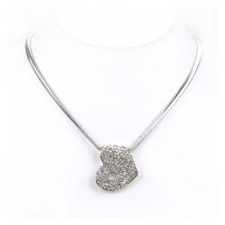 Collier - pendentif coeur inversé et strass sertis