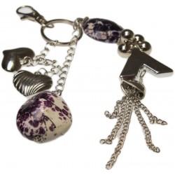 Bijou de sac à main coeurs, pierre violette et bijoux