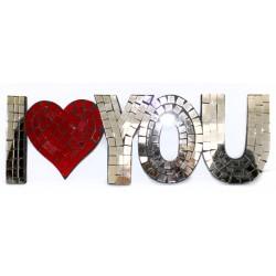 Message Mosaïque Coeur I LOVE YOU miroir