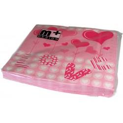 Serviettes de table papier amour de coeur