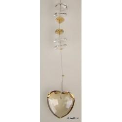 Coeur en verre fumé décoration à suspendre luxe