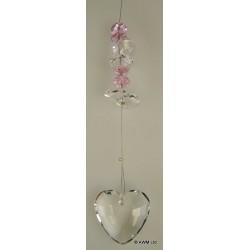 Coeur en verre décoration à suspendre luxe