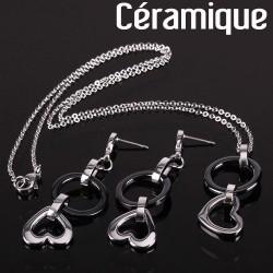 Parure Prestige B&C amour de céramique, chaîne forçat et boucles d'oreilles