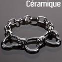 Bracelet Prestige B&C trio coeur et céramique noire