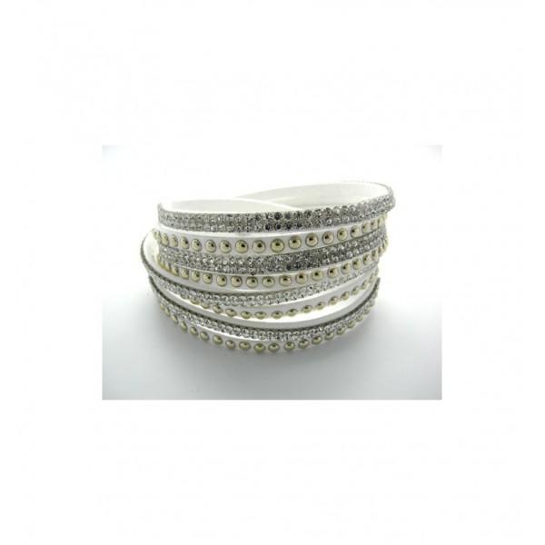 Bracelet Lanières de cuir, 4 rangées strass et perles