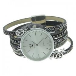 Montre Bellos sur bracelet multirang cuir avec strass