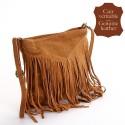 Besace marron clair en cuir à franges touché daim, Made in Italy