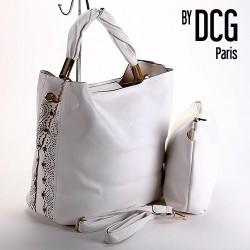 Sac cabas XL DCG blanc avec strass et pochette