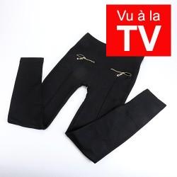 Vu à la télé, Leggings doublés polaire noirs sans couture, pour être visiblement plus mince