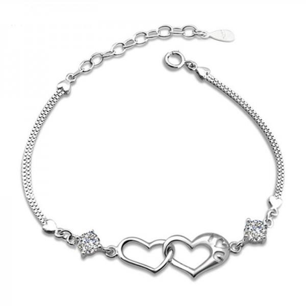 Toutencoeur® France Le bracelet double coeurs, zircons