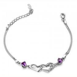 Toutencoeur® France Le bracelet double coeurs, améthystes