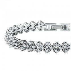 Toutencoeur® France Le bracelet reine de coeur, plaqué or rhodié, cristaux zircon cubiques