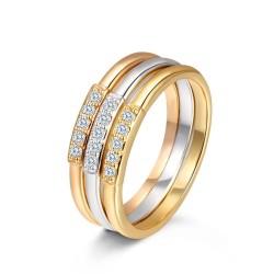 Toutencoeur® France 3 anneaux bague triple cristal zirconium